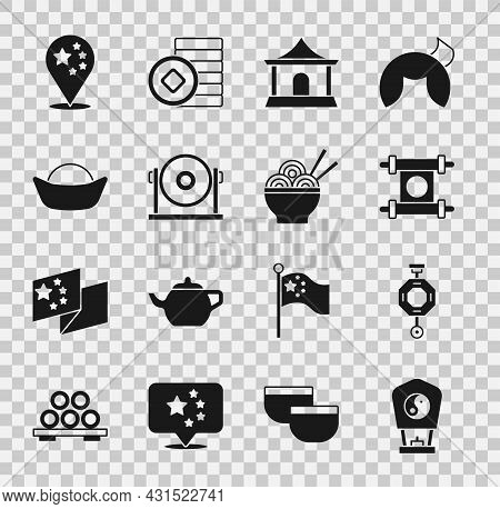 Set Chinese Paper Lantern, Decree, Paper, Parchment, Scroll, House, Gong, Sushi, China Flag And Asia