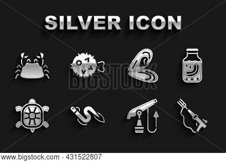 Set Eel Fish, Sea Cucumber In Jar, Fishing Harpoon, Turtle, Mussel, Crab And Hedgehog Icon. Vector