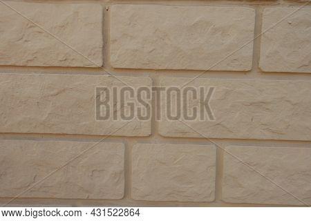 Close View Of Pale Yellow Brick Veneer Wall