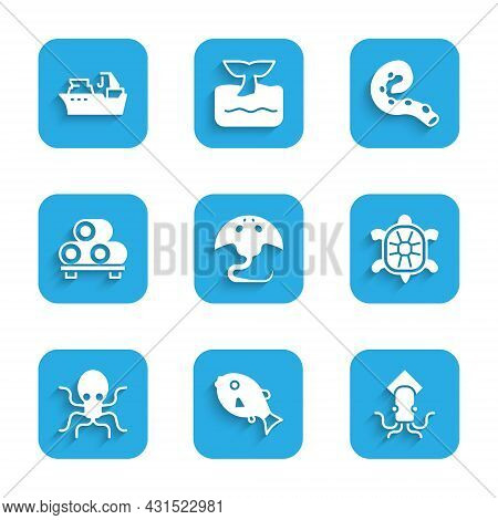 Set Stingray, Tropical Fish, Octopus, Turtle, Sushi On Cutting Board, Of Tentacle And Fishing Boat I