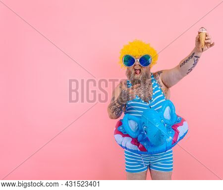 Fat Man With Beard And Wig Eats An Icecream