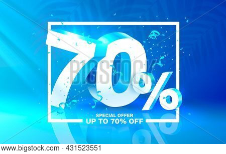 70 Off. Discount Creative Composition. 3d Sale Symbol With Decorative Objects. Sale Banner And Poste