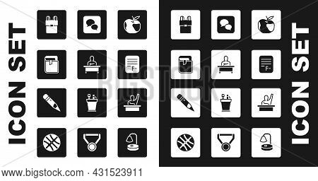 Set Apple, Schoolboy Sitting At Desk, Book, Backpack, Exam Paper With Incorrect Answers, Speech Bubb