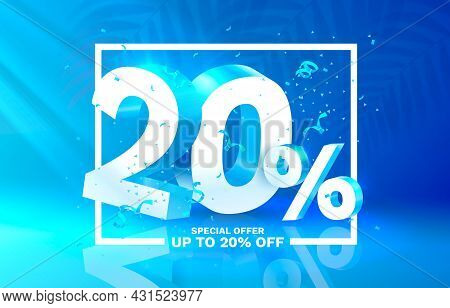 20 Off. Discount Creative Composition. 3d Sale Symbol With Decorative Objects. Sale Banner And Poste