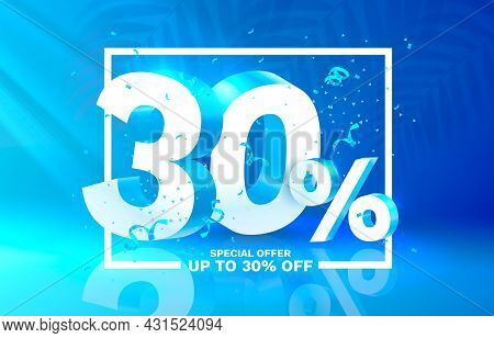 30 Off. Discount Creative Composition. 3d Sale Symbol With Decorative Objects. Sale Banner And Poste