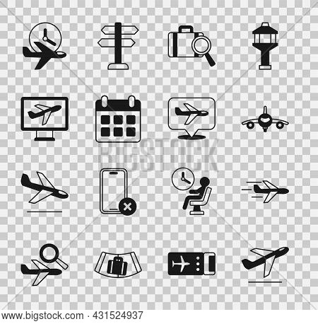 Set Plane Takeoff, Lost Baggage, Calendar And Airplane, Flight Time And Icon. Vector