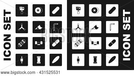 Set Skateboard, Park, Y-tool, Action Camera, Tool Allen Keys, Wheel, Broken Skateboard Deck And Icon