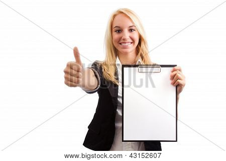 Young Woman With Checklist And Thumb Up