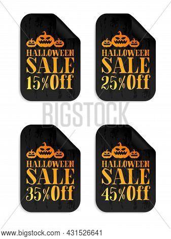 Halloween Black Sale Stickers Set With Pumpkin. Halloween Sale 15%, 25%, 35%, 45% Off. Vector Illust