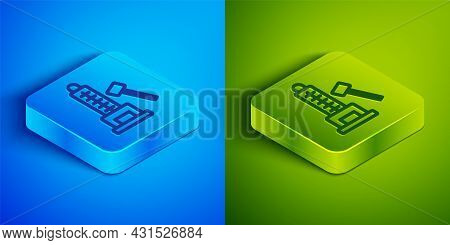 Isometric Line High Striker Attraction With Big Hammer Icon Isolated On Blue And Green Background. A