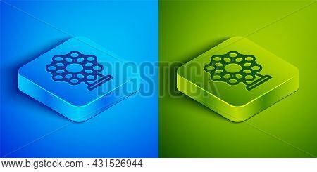 Isometric Line Ferris Wheel Icon Isolated On Blue And Green Background. Amusement Park. Childrens En