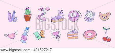 Cute 90s Aesthetic Girl Stuff Set. Isolated Japanese Kawaii Icons. Vector Illustration Eps 10