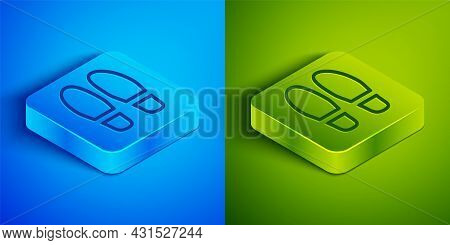 Isometric Line Footsteps Icon Isolated On Blue And Green Background. Detective Is Investigating. To