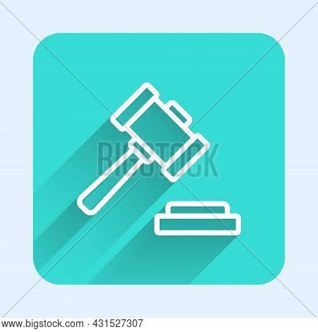 White Line Judge Gavel Icon Isolated With Long Shadow Background. Gavel For Adjudication Of Sentence