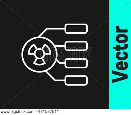 White Line Radioactive Icon Isolated On Black Background. Radioactive Toxic Symbol. Radiation Hazard