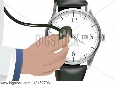 Hand With Wristwatch Stethoscope Hand With Wristwatch Stethoscope Stethoscope