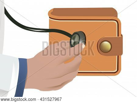 Hand With Men's Wallet Stethoscope Hand With Men's Wallet Stethoscope