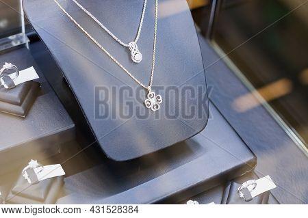 Jewelry Diamond Shop Window Display Close Up