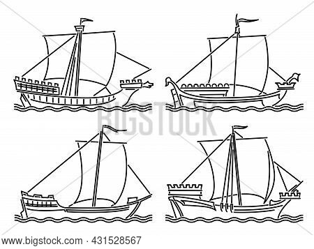 Set Of Simple Vector Images Of Single-masted Merchant Ships Of The Early Middle Ages Drawn In Art Li