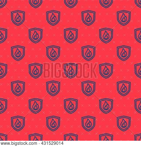 Blue Line Fire Protection Shield Icon Isolated Seamless Pattern On Red Background. Insurance Concept