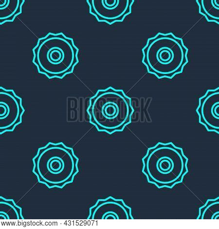 Green Line Circular Saw Blade Icon Isolated Seamless Pattern On Blue Background. Saw Wheel. Vector