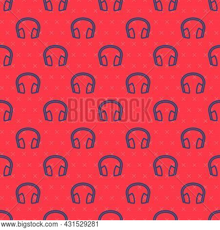 Blue Line Noise Canceling Headphones Icon Isolated Seamless Pattern On Red Background. Headphones Fo