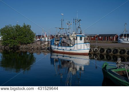 June 26, 2021 - Boda Harbour: Fishing Boats In Beautiful Sunset Light. These Fine Days Have Brought