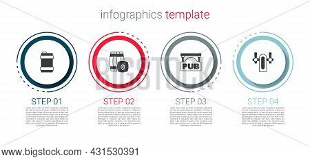 Set Metal Beer Keg, Wooden Barrel, Street Signboard With Pub And Beer Tap. Business Infographic Temp