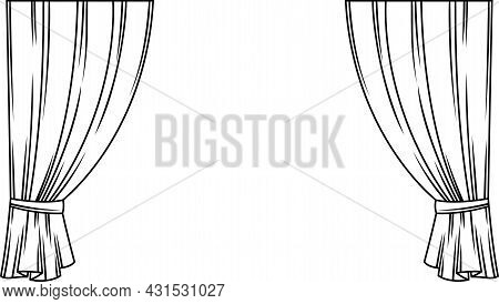 Curtains Of Theater Stage. Template For Theatrical Performance, Movie House Or Presentation.
