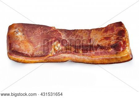 Smoked pork brisket with a large piece on white background