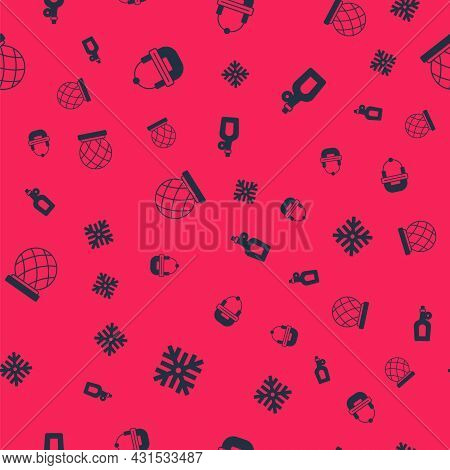 Set Snowflake, Hockey Helmet, Montreal Biosphere And Bottle Of Maple Syrup On Seamless Pattern. Vect