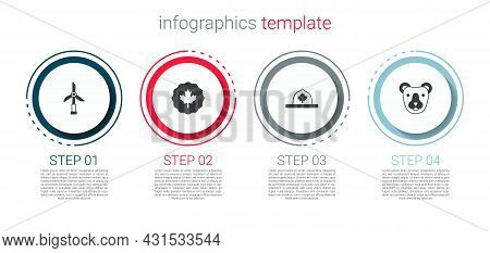 Set Wind Turbine, Canadian Maple Leaf, Ranger Hat And Bear Head. Business Infographic Template. Vect