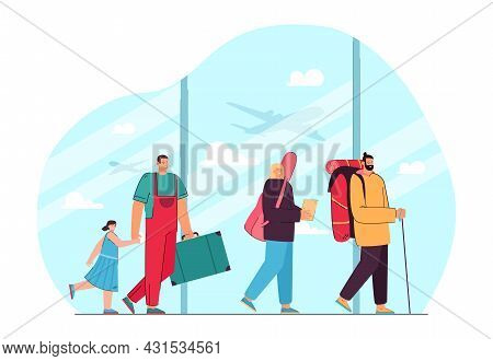 Queue Of Cartoon People With Baggage In Airport. Father And Daughter, Woman And Man Arriving To Dest