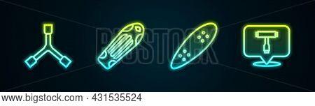 Set Line Skateboard Y-tool, Deck, Longboard Or Skateboard And T. Glowing Neon Icon. Vector