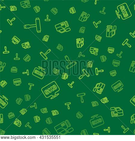 Set Line Skateboard T Tool, And Cinema Camera On Seamless Pattern. Vector