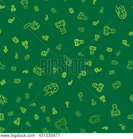 Set Line Wooden Axe, Fireball And Bottle With Potion On Seamless Pattern. Vector