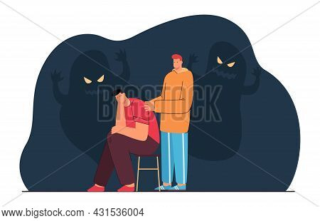 Friend Comforting Man With Anxiety Or Fear. Character Suffering From Nightmares, Scary Shadows Flat