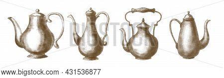 Teapots Vintage Set. Hand Drawn Illustration On White Background. Sketch Of Retro Tea Kettle For Tea