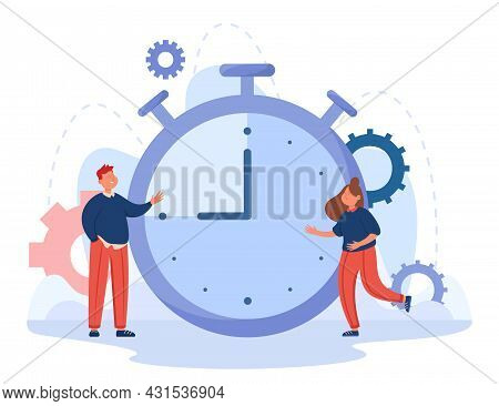 Cartoon Business People With Huge Timer In Background. Stopwatch With Interval Or Countdown Flat Vec