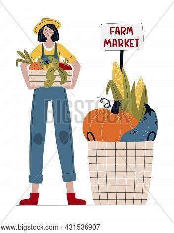 Farmer Woman In Modern Style.  Buy Fresh Organic Products From The Local Farmer's Market. Farm Marke