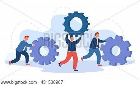 Team Of Business People Pushing Cogwheels. Repair Service Workers With Gears, Technology Upgrade, Pe