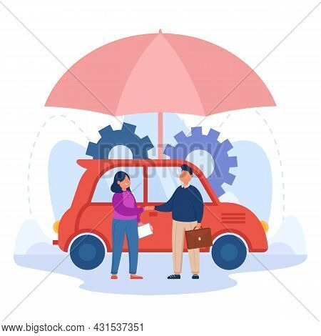 Female Cartoon Driver Shaking Hands With Insurance Agent. Auto Under Umbrella, Man Helping Woman Wit