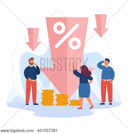 Tiny People Next To Down Arrow With Percentage Symbol. Cost Reduction, Low Price Or Profit, Financia