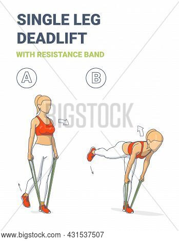 Girl Doing Single Leg Deadlift Home Workout Exercise With Resistance Band Or Rubber Loop Guidance.