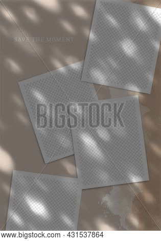 Trendy Template Poster For Social Networks Posts. Vector Collage With Photo Frames With Dappled Shad