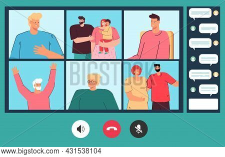 Relatives Of Different Age Communicating Online. Flat Vector Illustration. Old, Young People, Man An