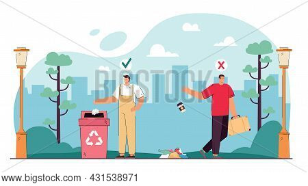 Contrasting Behavior Of People Throwing Out Trash. Flat Vector Illustration. Man Throwing Garbage On