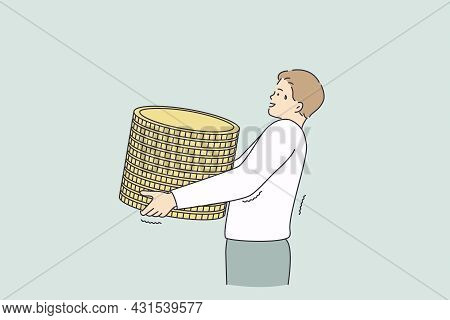Profit, Making Money, Financial Success Concept. Young Worker Businessman Cartoon Character Carrying