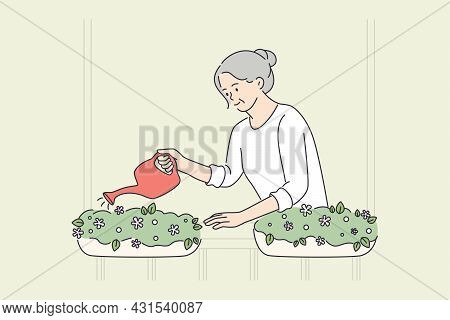 Elderly People Happy Lifestyle Concept. Smiling Old Mature Elderly Woman Grandmother Standing Wateri