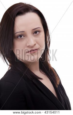 Close Up Portrait Of A Caucasian Businesswoman Isolated Over White